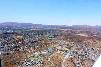 Windhoek - Aerial view of Windhoek. In the background the Auas Mountains (2016)