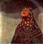 """Πίνακας του Alfons Mucha με τίτλο """"Χειμωνιάτικη Νύχτα"""" (1920)."""