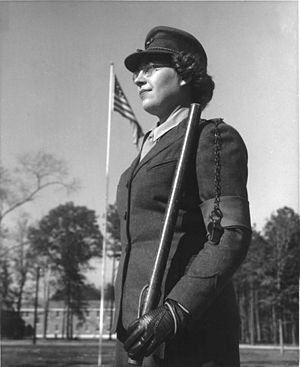 United States Marine Corps Women's Reserve - In her winter uniform, Private Eleanora Julia Csanady stands sentry duty at Camp Lejeune, North Carolina, in 1943