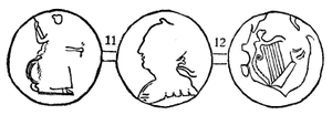 Blacksmith token - Wood's illustration for the Blacksmith tokens Wood 11 and Wood 12, the former depicting a crude Britannia figure combined with a profile of George III, and the latter the regal profile combined with an Irish harp.