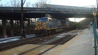 Trenton Subdivision (CSX Transportation) - CSX Transportation freight train on the Trenton Subdivision at Woodbourne station
