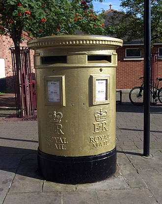 Tom James - Post box in Wrexham painted gold to celebrate Tom James' gold medal win at the 2012 Summer Olympics