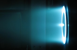 Spacecraft propulsion - 6 kW Hall thruster in operation at the NASA Jet Propulsion Laboratory.