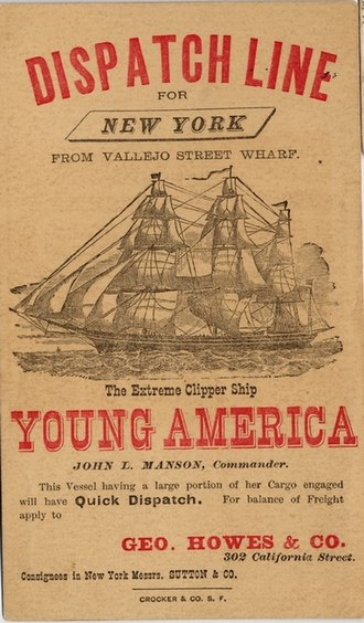 Young America (clipper) - Image: YOUNG AMERICA (Ship) (c 112 02 48)