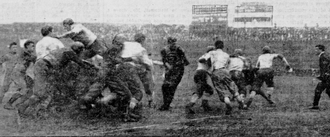 Harold Weekes - Weekes dives for a touchdown in Columbia's 12-5 loss to Yale in 1900; this was one of just two touchdowns given up by Yale during the 1900 season.