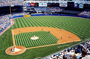 Batter's eye - The old Yankee Stadium with batter's eye visible on upper right above the center field fence