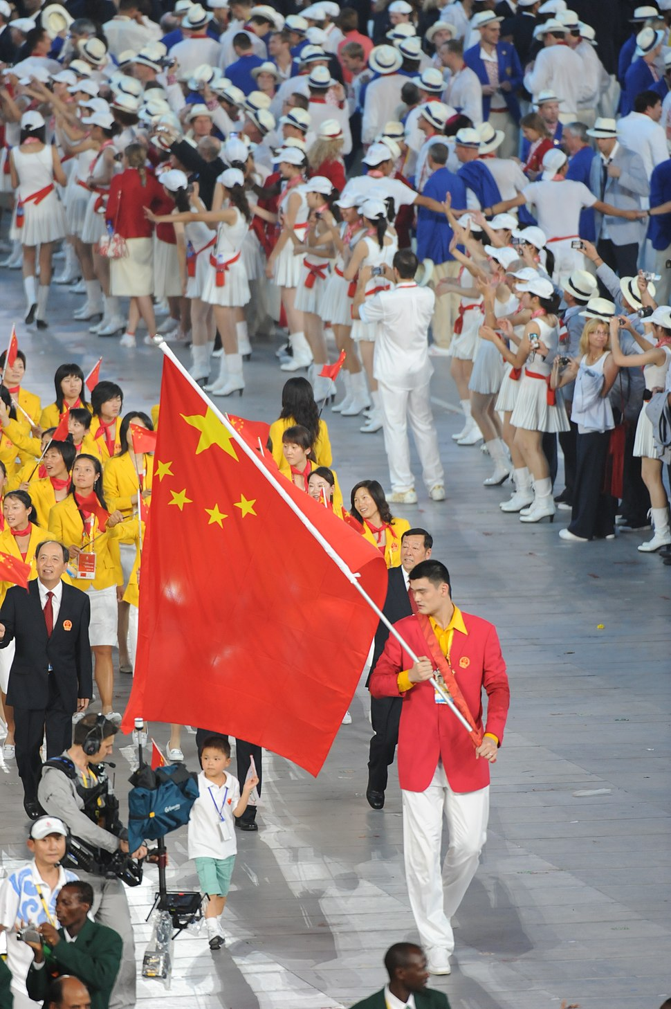 Yao Ming with the Chinese flag 2008 Summer Olympics - Opening Ceremony