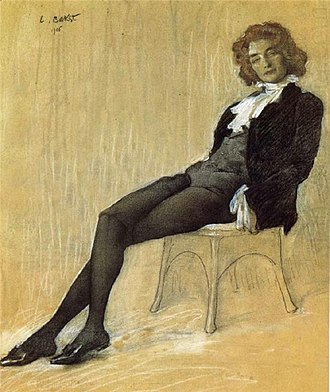 1906 in literature - Russian writer Zinaida Gippius in exile in France during 1906, portrayed by Léon Bakst