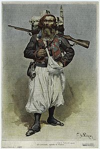 A French zouave from 1888 in the distinctive campaign uniform worn in North Africa. His trousers would normally be red.