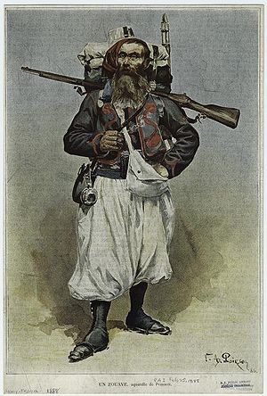 "Army of Africa (France) - A zouave in 1888, wearing ""tenue orientale"" with white summer trousers instead of the usual red."