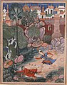 """'Umar Walks around Fulad Castle, Meets a Foot Soldier and Kicks Him to the Ground"", Folio from a Hamzanama (The Adventures of Hamza) MET sf23-264-2a.jpg"