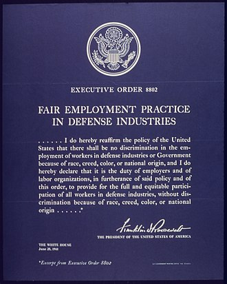 """Franklin D. Roosevelt and civil rights - """"Executive Order No. 8802"""", Fair Employment Practice in Defense Industries"""