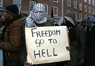 Islamism - An Islamist protester in London protesting over cartoons depicting Mohammed, 6 February 2006