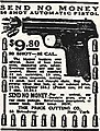 """SEND NO MONEY"" ""20 SHOT AUTOMATIC PISTOL"" ad, from- Weird Tales v01n01 (1923-03) (page 188 crop).jpg"