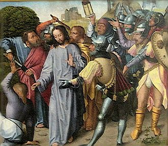 Live by the sword, die by the sword - Image: 'The Arrest of Christ', oil on panel painting by the Master of the Evora Altarpiece, c. 1500, Museu de Évora, Portugal