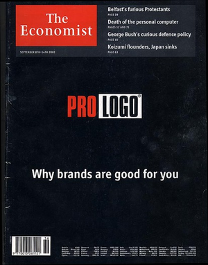 No Logo - A cover of The Economist (8 September 2001) in reference to No Logo.