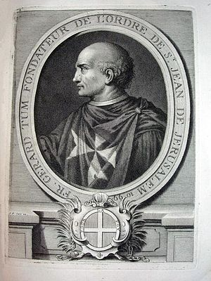 Blessed Gerard - 18th-century copper engraving by Laurent Cars, captioned Brother Gerard Tum, Founder of the Order of St John of Jerusalem 1099.