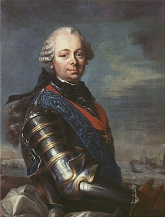 Étienne François, duc de Choiseul - Duke of Choiseul, depicted wearing armor and the Order of the Holy Spirit (blue) and the Order of the Golden Fleece (red, Spain n°756), Second half of 18th century)