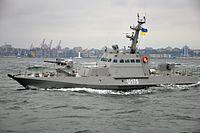Новозбудовані для українських ВМС малі броньовані артилерійські катери в ході випробувань здійснили спільне плавання (27359525951).jpg
