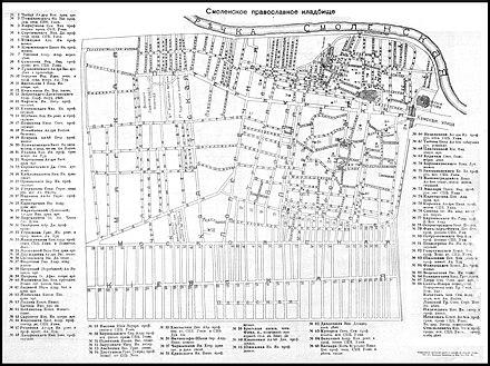 План кладбища, 1914 год