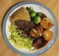-2019-12-15 Steak and kidney pudding, cabbage, sprouts and roast potatoes, Trimingham, Norfolk (1).JPG