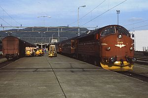 NSB Di 3 - NSB Di 3.616 at Trondheim Central Station preparing for departure on the express train on the Nordland Line in 1986
