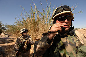 Role of Georgia in the Iraq War - Georgian soldiers from the 13th Light Infantry Battalion on a clearing mission in Al Shaheen, Iraq, in March 2007.