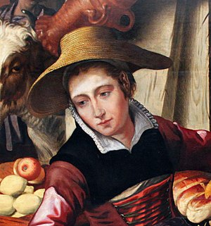 Partlet - Market woman wearing a black partlet with a white lining over a reddish kirtle, Netherlandish, 1567.