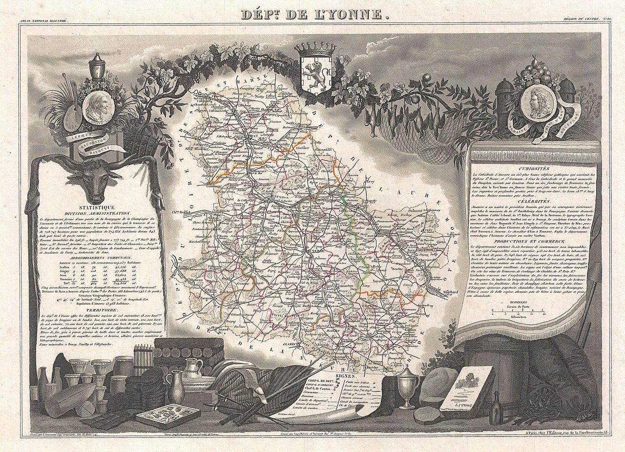 File 1852 levasseur map of the department de l 39 yonne for Region yonne