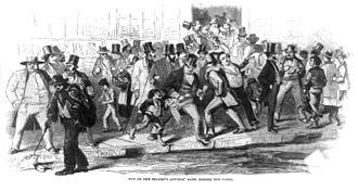 Panic of 1857 - Bank run on the Seamen's Savings' Bank during the Panic of 1857