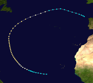 1892 Atlantic hurricane season - Image: 1892 Atlantic hurricane 3 track