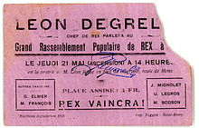 Fac-similé d'un ticket pour le meeting rexiste du 21 mai 1936