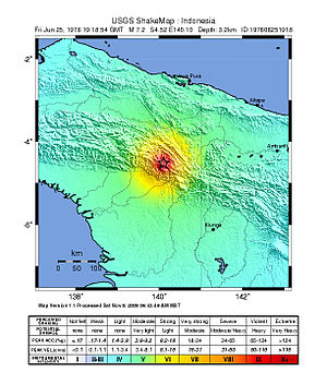 1976 Papua earthquake - United States Geological Survey ShakeMap