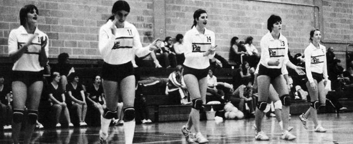 The 1978 Pitt volleyball team, coached by Mike Hebert and playing home games at Trees Hall, was the school's first to win the Eastern regional championship and advance to the collegiate volleyball national championships, then held by the AIAW, where they finished 13th in the nation 1978PittVBallteam.jpg
