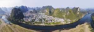 Yangshuo County - Aerial view of Yangshuo from across the Li River