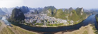 Yangshuo County - Aerial view of Yangshuo from across the Li River