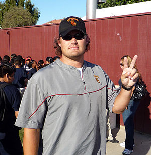 "Brennan Carroll - Carroll making the USC ""V"" for victory sign after a 2008 fall practice"