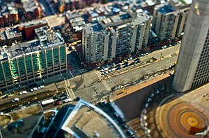 Huntington Avenue - Huntington Avenue, Boston, near the Christian Science Center, as viewed from the Prudential Tower (2009)