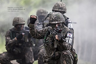 Republic of Korea Army - South Korean soldiers on a recon exercise in 2014.