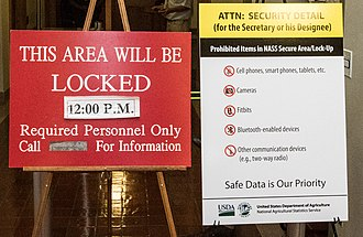 News embargo - A sign at a U.S. National Agricultural Statistics Service briefing on crop production, held at a secure data room where politicians and journalists are briefed on embargoed data two hours before its release.