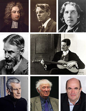 Irish literature - Several notable Irish Writers. Clockwise from top left: Jonathan Swift; W.B. Yeats; Oscar Wilde; James Joyce; Colm Toibín; Seamus Heaney; Samuel Beckett; G.B. Shaw