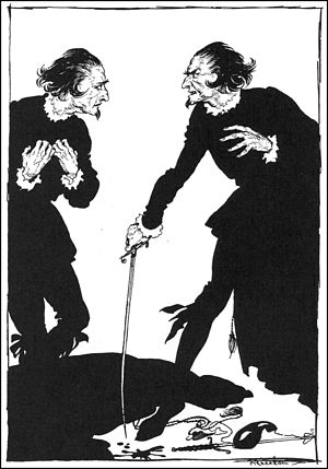 "William Wilson (short story) - Wilson confronts his ""double"" in an illustration by Arthur Rackham 1935"