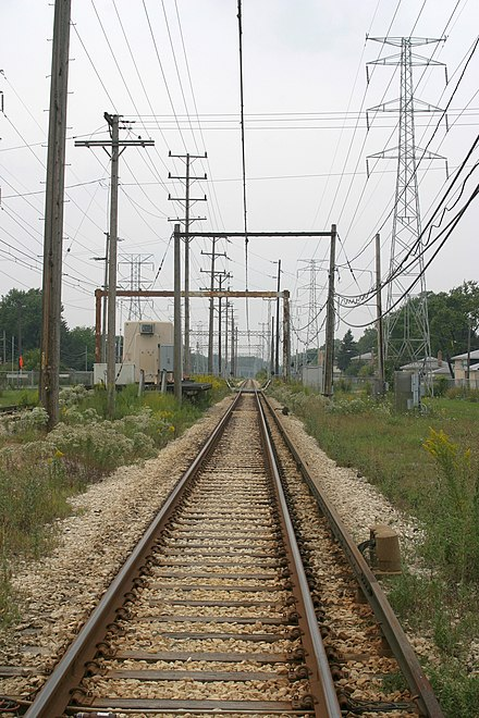 "Transition zone of third-rail to overhead-wire supply on Chicago's Yellow Line (the ""Skokie Swift""), shown shortly before the conversion to third rail operation in September 2004."