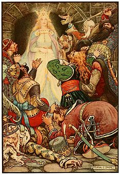 4 It was clear that her fascination still worked upon the hearts of the prisoners - Russian Fairy Book 1916, illustrator Frank C Pape.jpg
