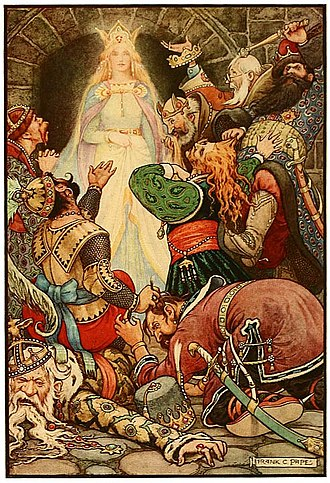 Frank C. Papé - Image: 4 It was clear that her fascination still worked upon the hearts of the prisoners Russian Fairy Book 1916, illustrator Frank C Pape