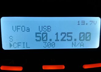 6-meter band - A Yaesu FT-857D tuned to 50.125 MHz, the traditional 6-meter single-sideband calling frequency in the United States.