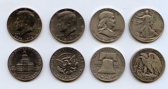 Various half dollar designs. From left to right: Bicentennial, Kennedy, Franklin, Walking Liberty 50cent designs.jpg