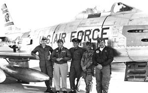 Fred Ascani - Members of the 50th Fighter Wing at Nellis in 1956. (left to right) Capt. Coleman Baker, Lt. Col. Chuck Yeager, Col. Fred Ascani, Maj. James Gasser and Capt. Robert Pasqualicchio.   (USAF Photo)