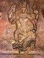 6th century Durga spearing buffalo demon Mahishasura (cave 1), Badami Hindu cave temple Karnataka.jpg