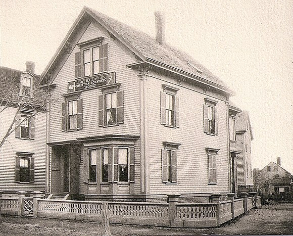 "8 Broad Street, Lynn, Massachusetts, around 1880, with the sign ""Mary B. Glover's Christian Scientists' Home."" 8 Broad Street, Lynn, Massachusetts (Mary Baker Eddy) 2.jpg"